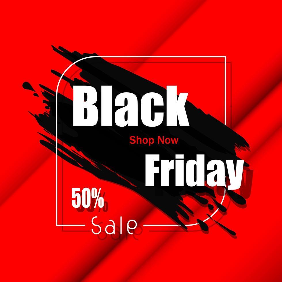 vendredi noir grande vente bannière rouge vecteur