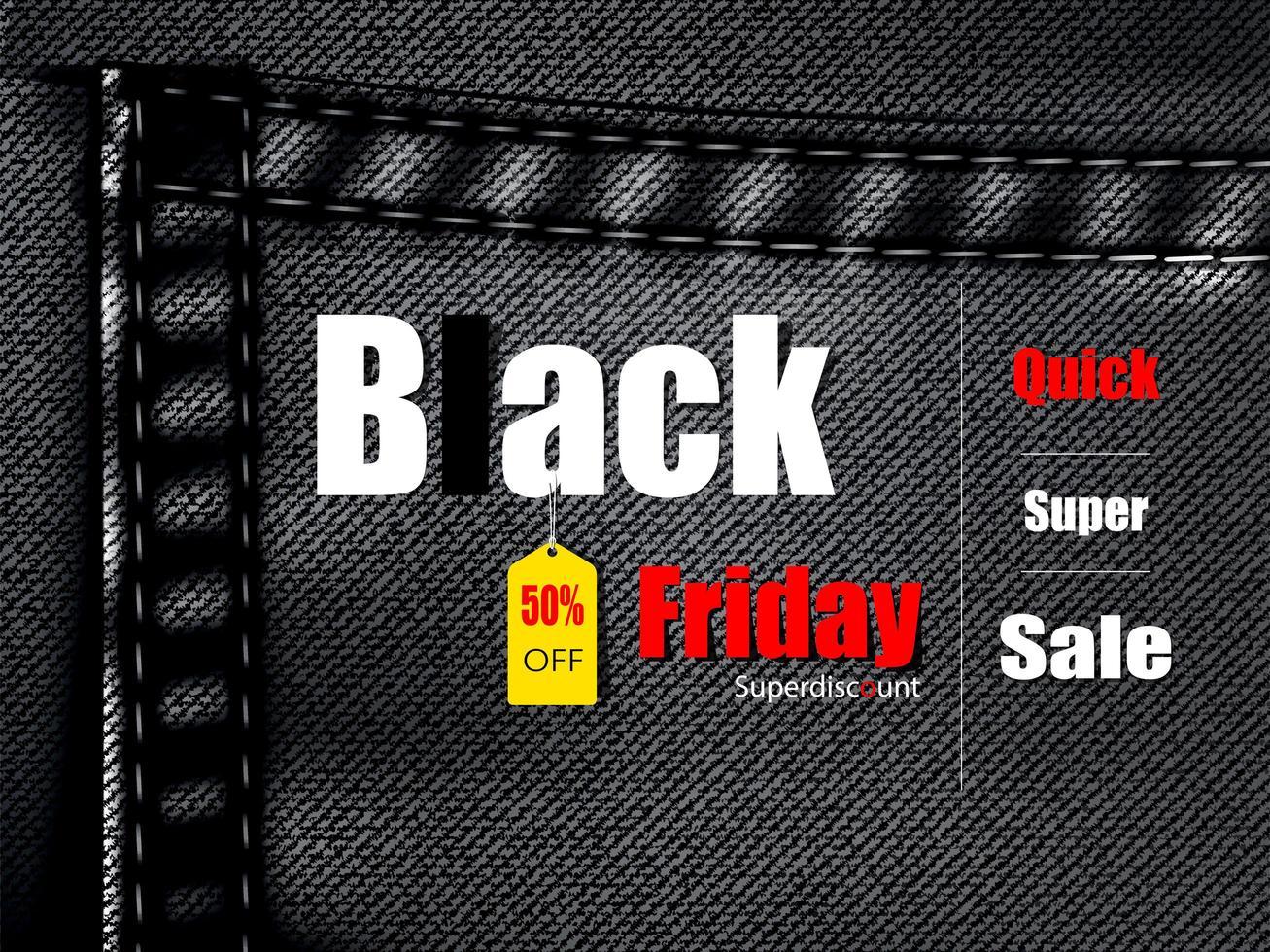 bannière de balle de vendredi noir texture jean vecteur