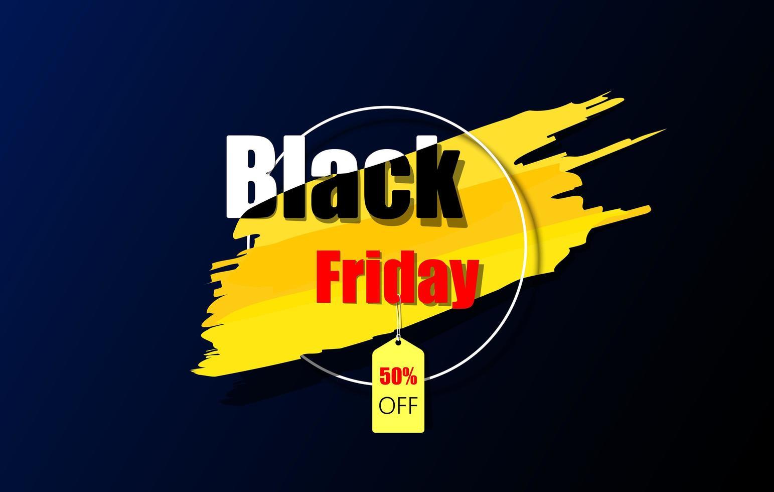 bannière de couleur sombre et jaune vendredi noir vecteur