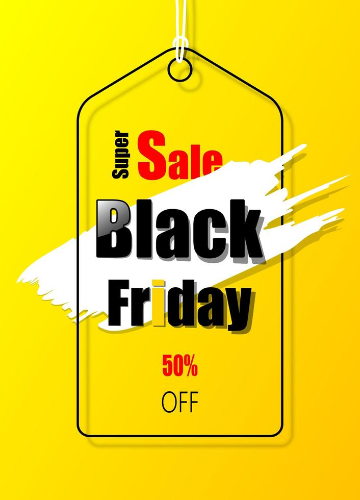 étiquette de promotion jaune pour le vendredi noir vecteur