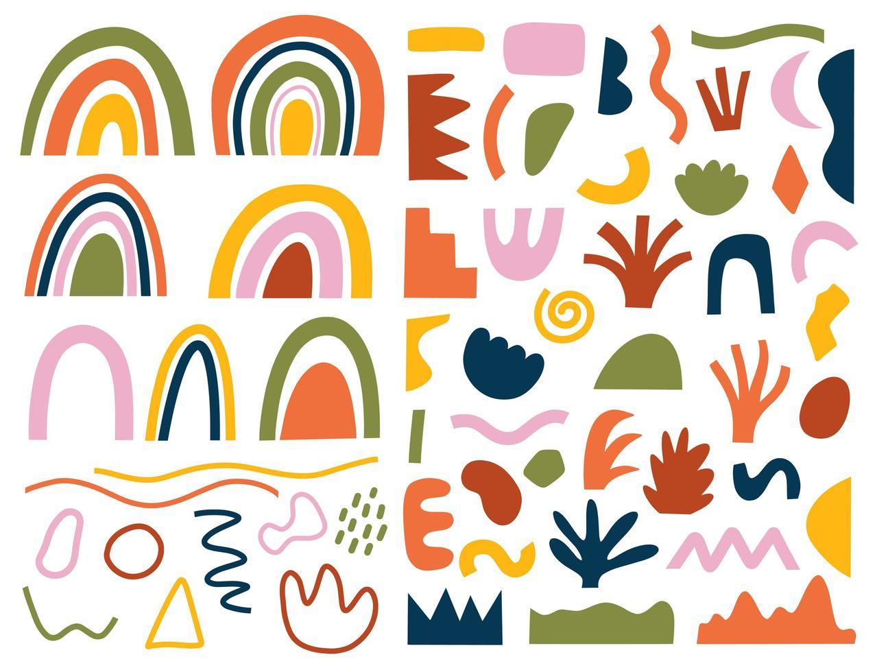 ensemble de différentes formes et griffonnages dessinés à la main vecteur