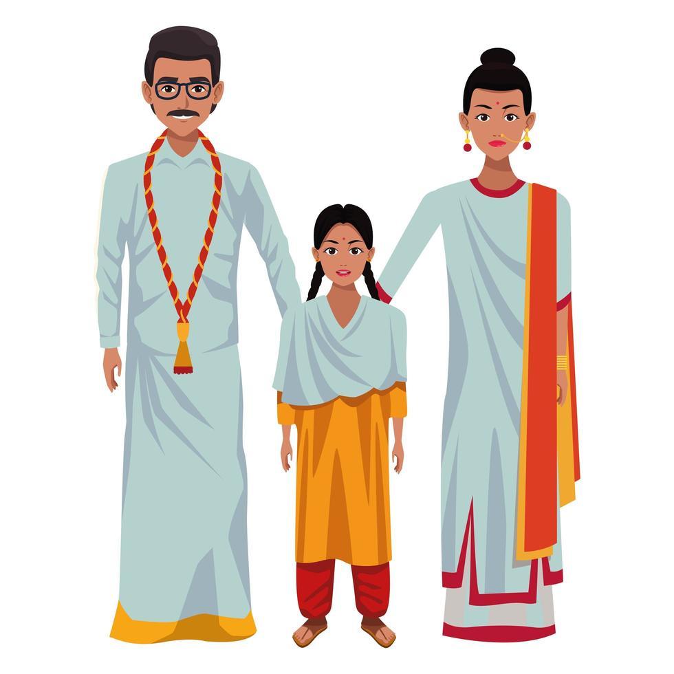 personnages de dessins animés avatar famille indienne vecteur