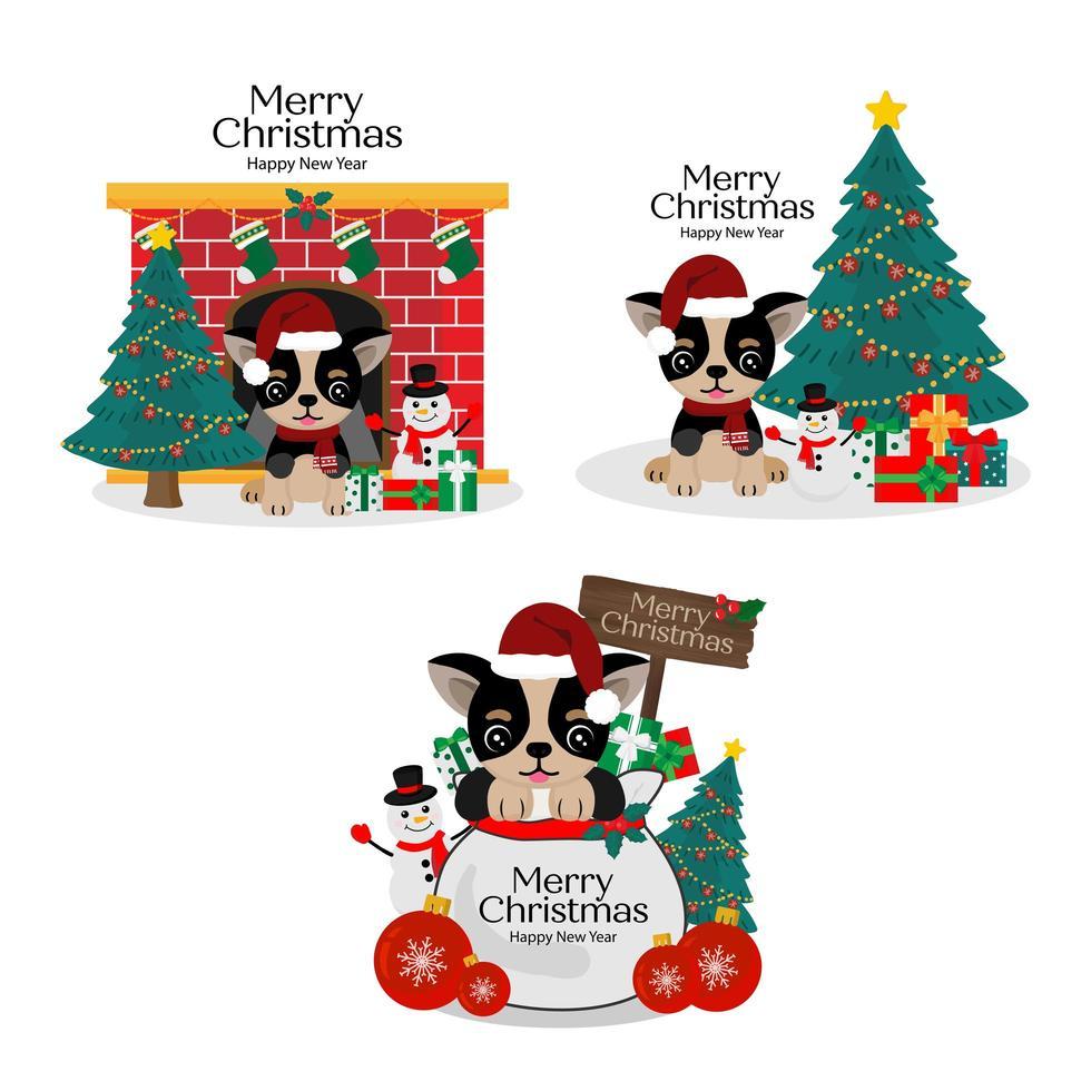 carte de Noël avec un chien mignon dans le chapeau du père Noël vecteur