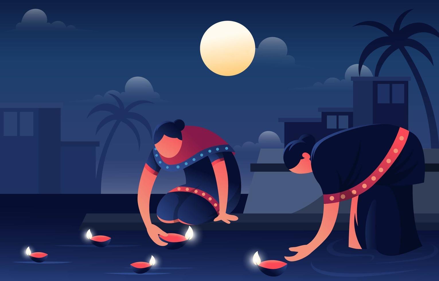 un couple de femmes brûlant diya sur diwali vecteur