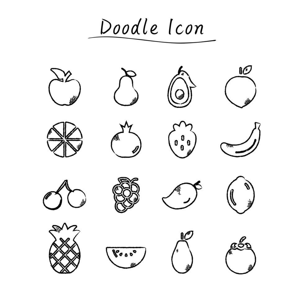 icônes de fruits doodle dessinés à la main vecteur
