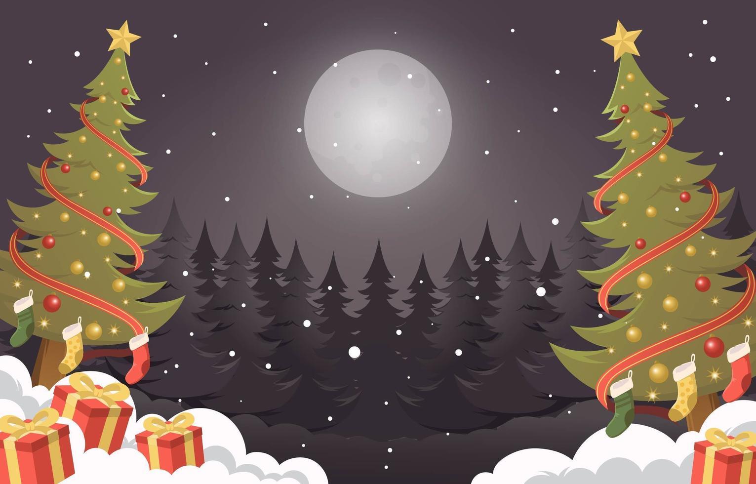 une nuit de Noël blanche avec des cadeaux et des arbres à feuilles persistantes vecteur