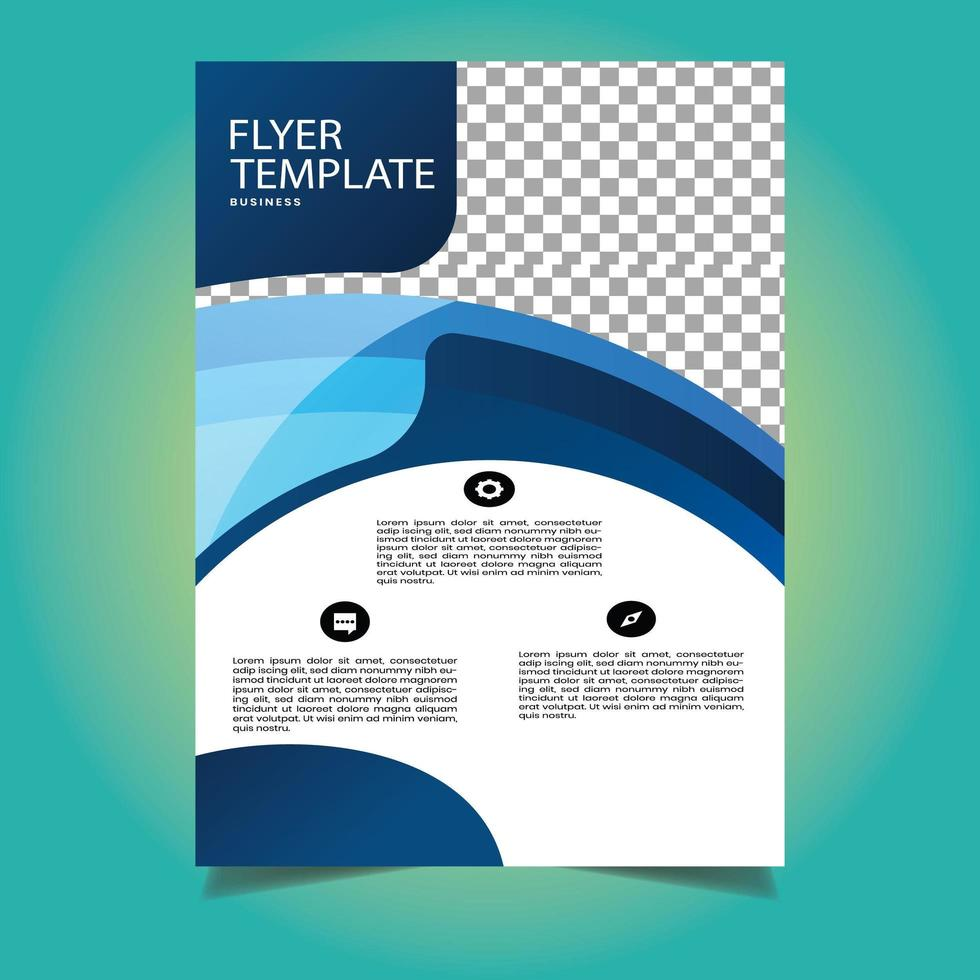 modèle de flyer business forme abstraite bleu et blanc vecteur