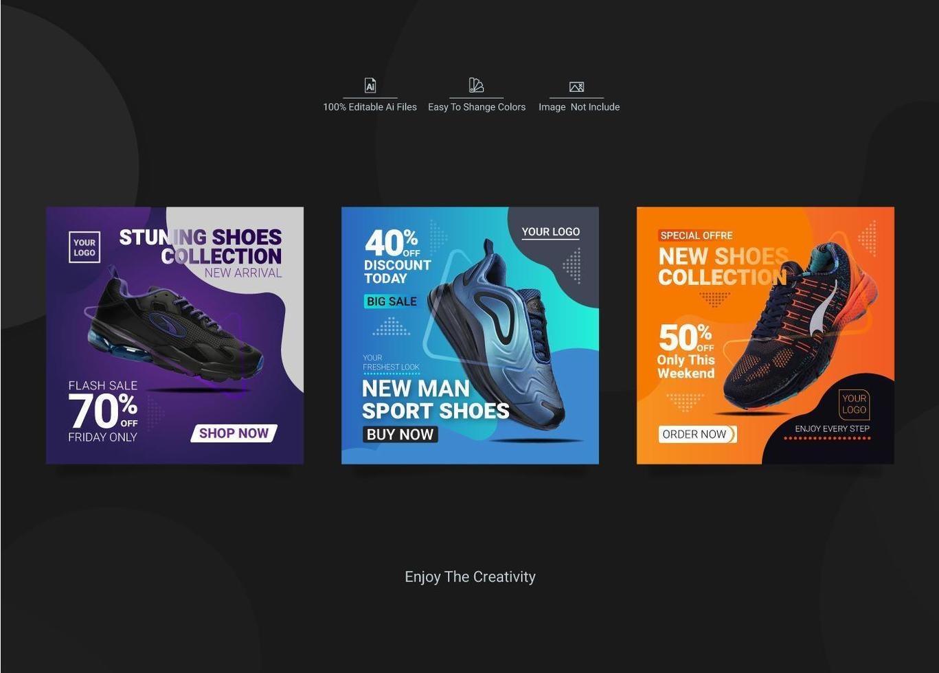ensemble de publications sur les médias sociaux sur le thème des chaussures vecteur