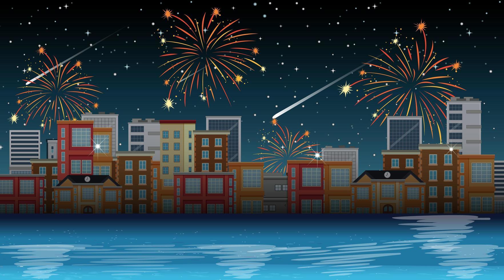 paysage urbain avec scène de feux d'artifice de célébration vecteur