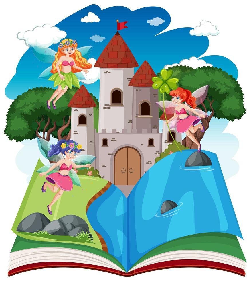 conte de fées et tour du château sur livre pop-up vecteur