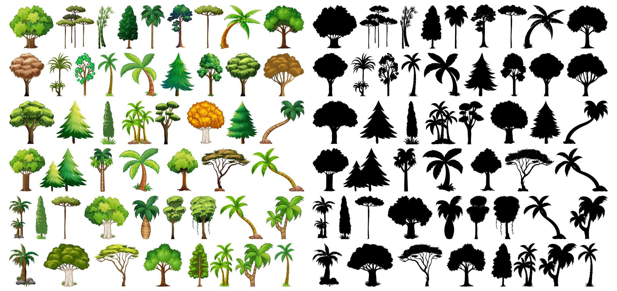 ensemble de plantes et d & # 39; arbres avec des silhouettes vecteur