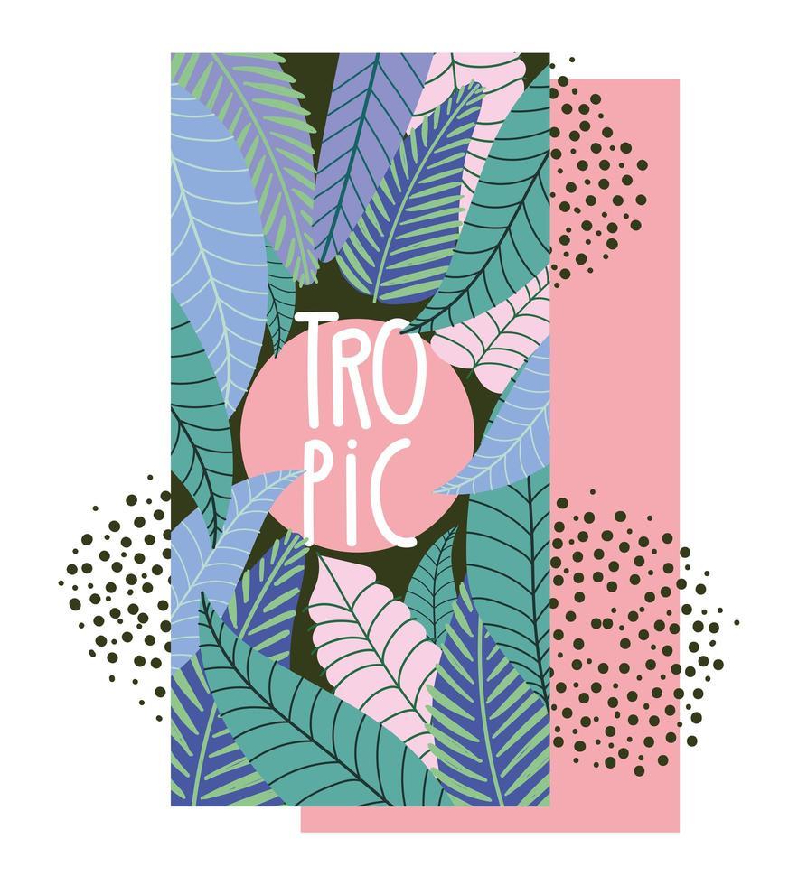 bannière colorée de feuilles tropicales vecteur