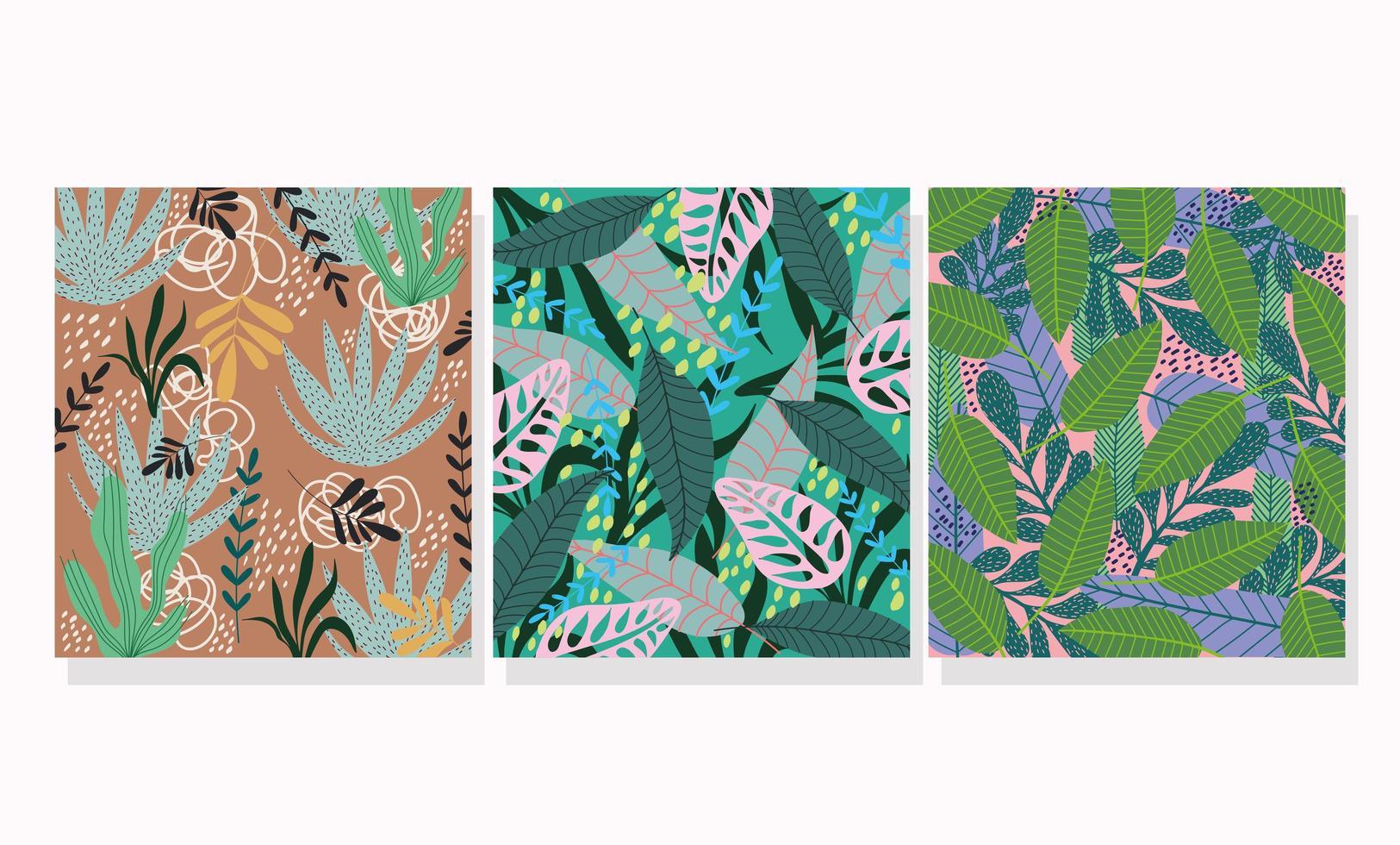 ensemble de milieux de motifs tropicaux vecteur