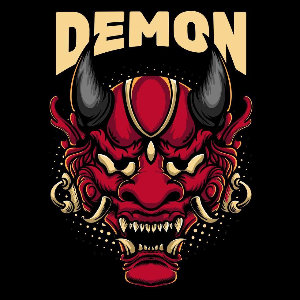 conception de mascotte de masque de démon vecteur