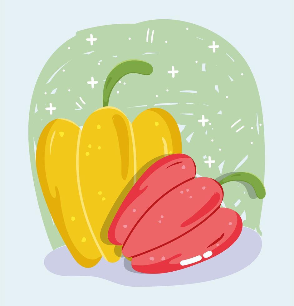 menu de légumes frais. poivrons rouges et jaunes vecteur