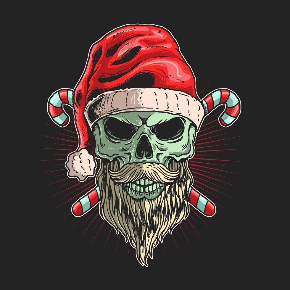 crâne santa avec barbe devant des cannes de bonbon vecteur