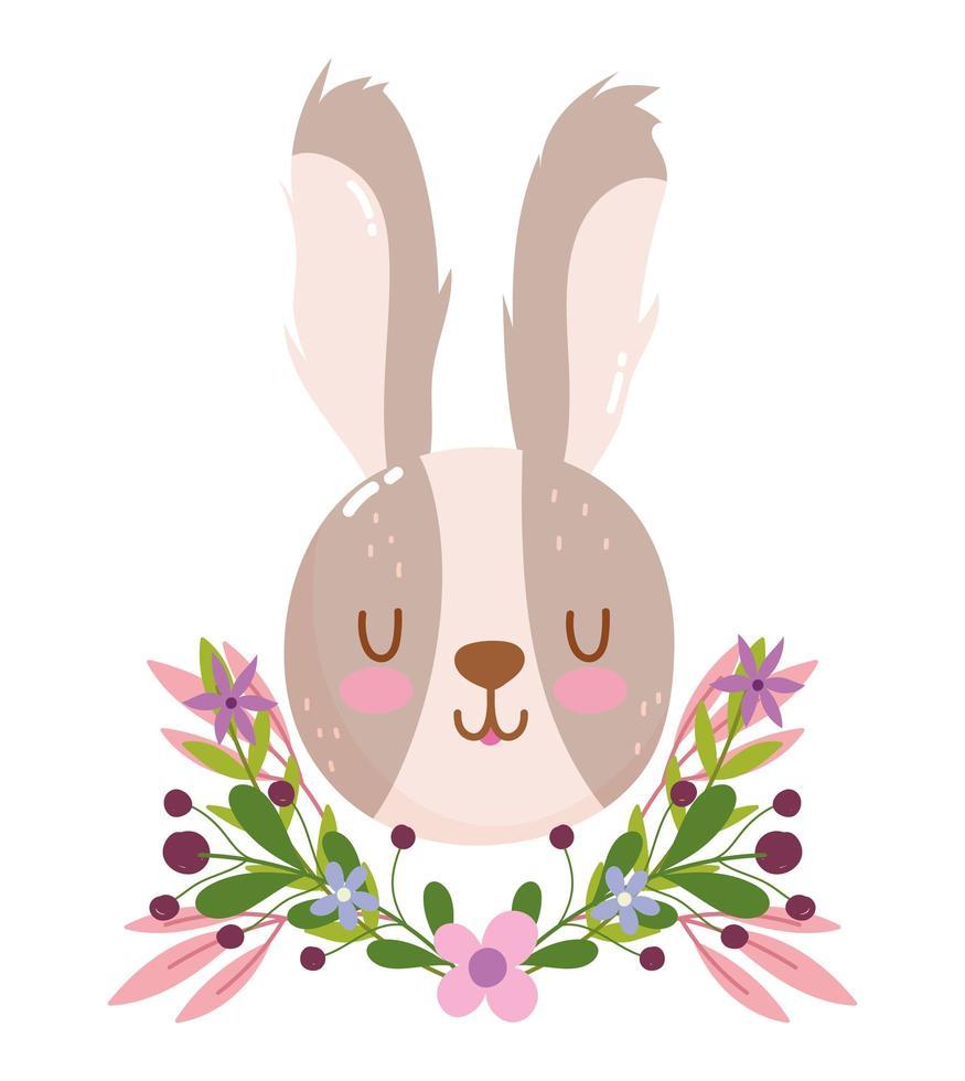 jolie tête de lapin avec décoration de fleurs et feuillage vecteur
