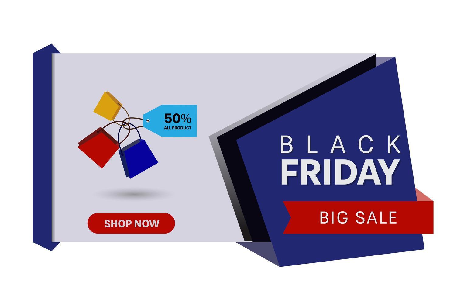 bannière de vente vendredi noir géométrique horizontale vecteur