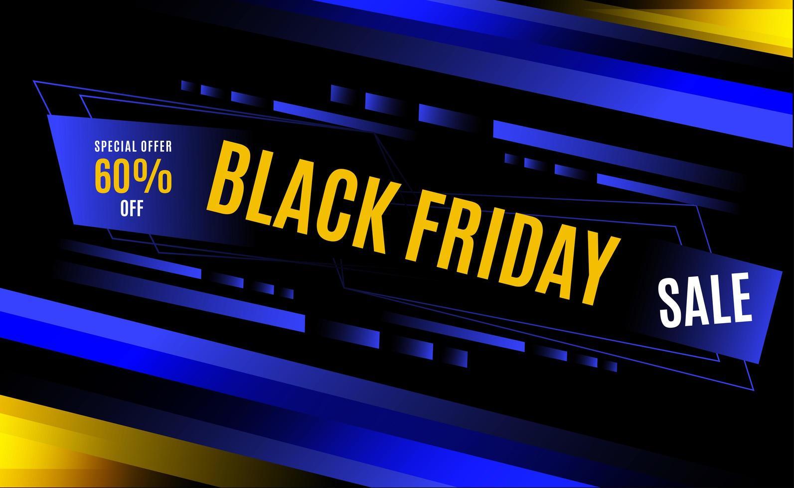 conception de rayures dynamiques bleu et jaune vendredi noir vecteur
