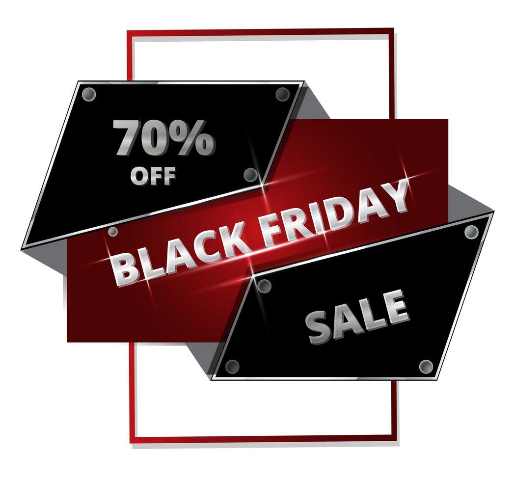 bannière de vente vendredi noir géométrique métallique vecteur