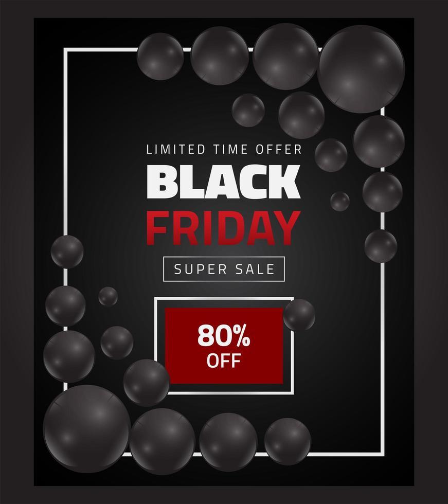 bannière de vente vendredi noir avec des ballons noirs vecteur