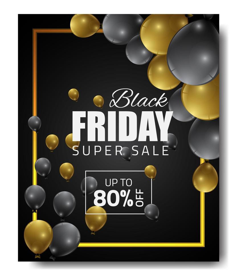 bannière de vente vendredi noir avec or, ballons noirs vecteur