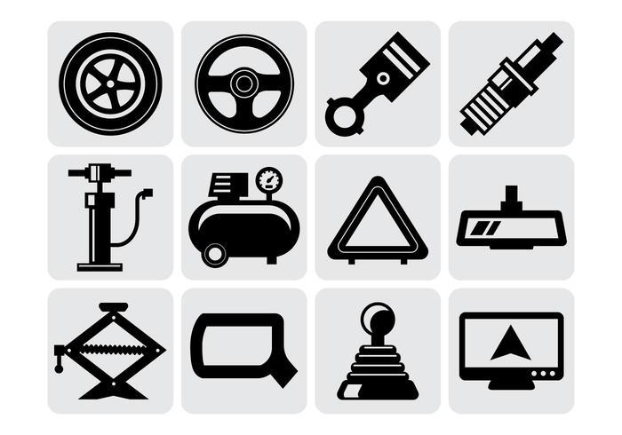 Pièces de voitures Icônes vecteur libre
