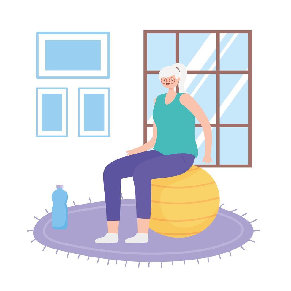 femme âgée, exercice, intérieur vecteur