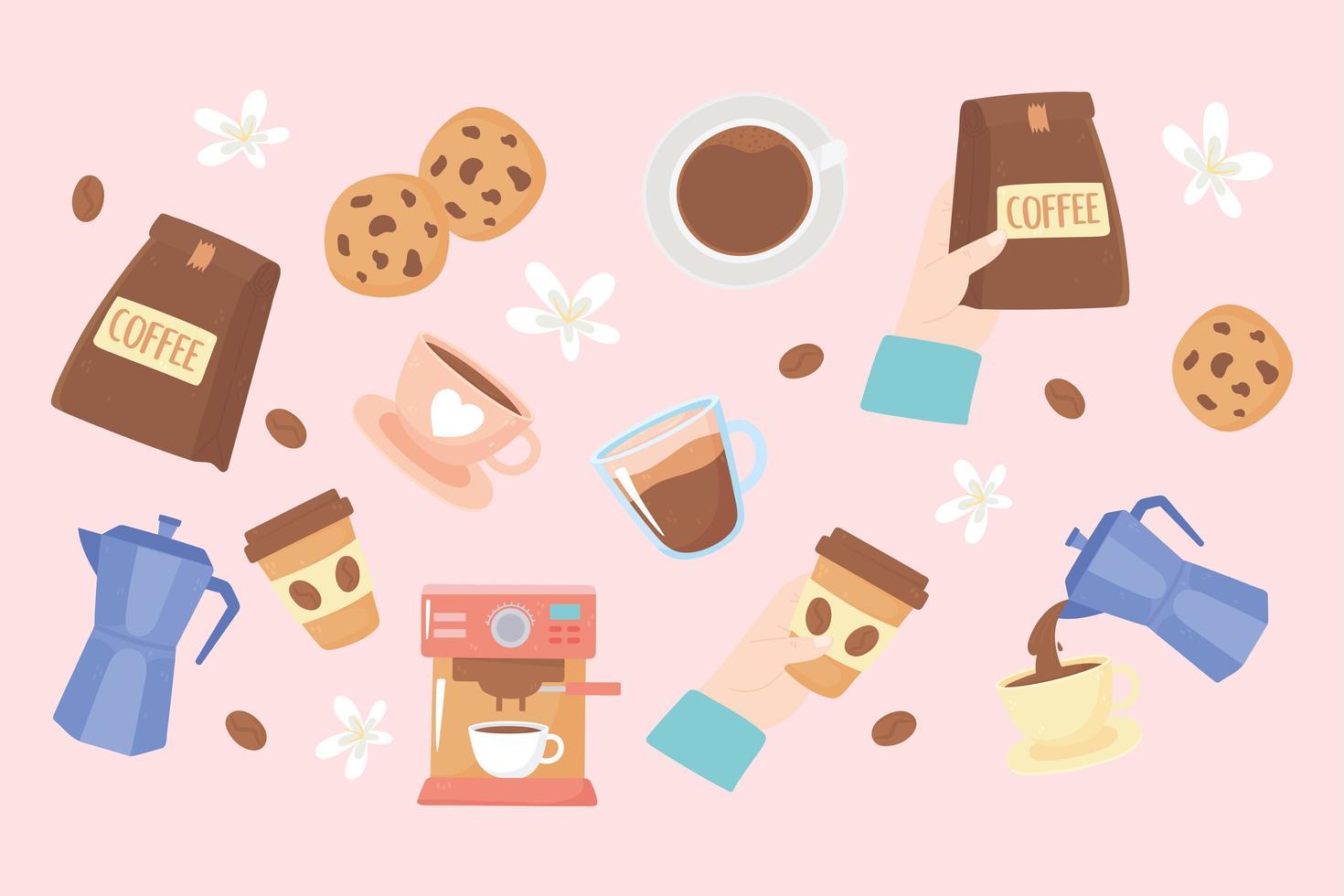 fond de journée internationale du café mignon vecteur
