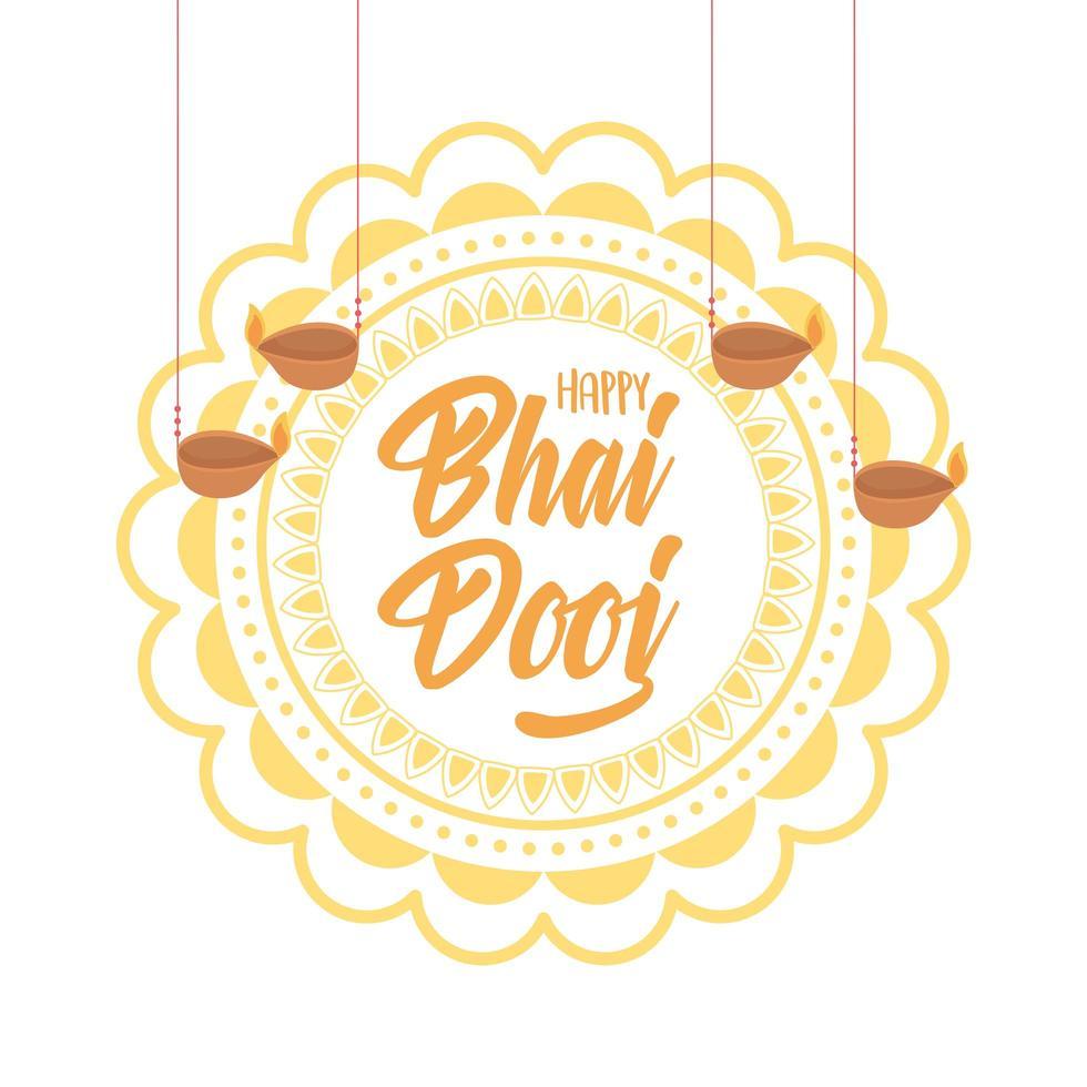 heureux bhai dooj. mandala floral et lampes diya suspendues vecteur