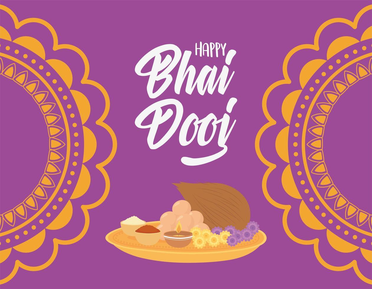 joyeux bhai dooj, cérémonie de célébration indienne vecteur