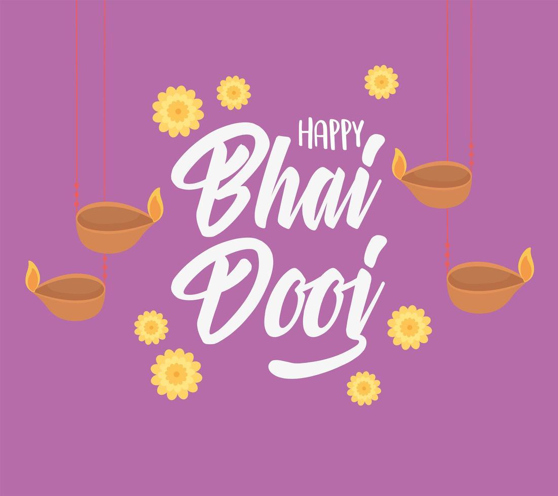 heureux bhai dooj. lampes suspendues et décoration de fleurs vecteur
