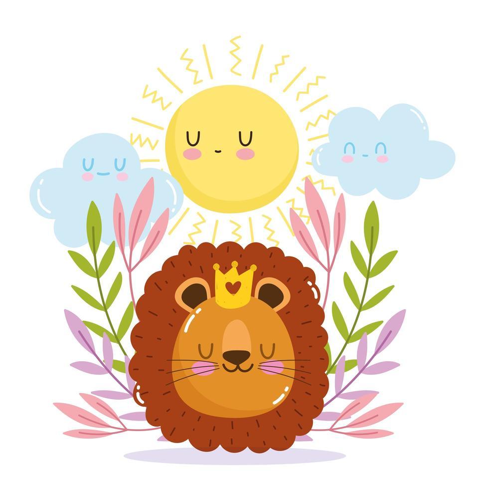 petit lion avec couronne, soleil et feuillage vecteur