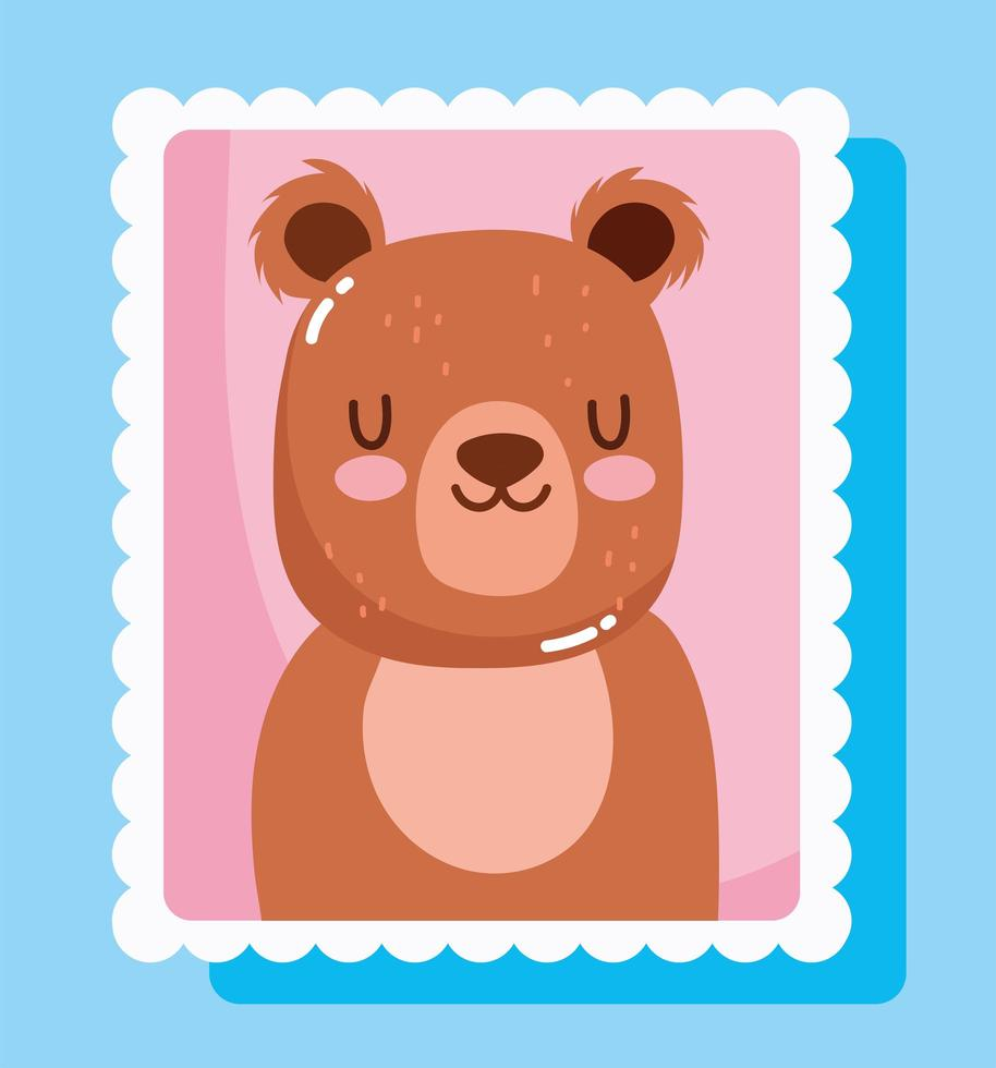 dessin animé mignon petit ours en timbre postal vecteur