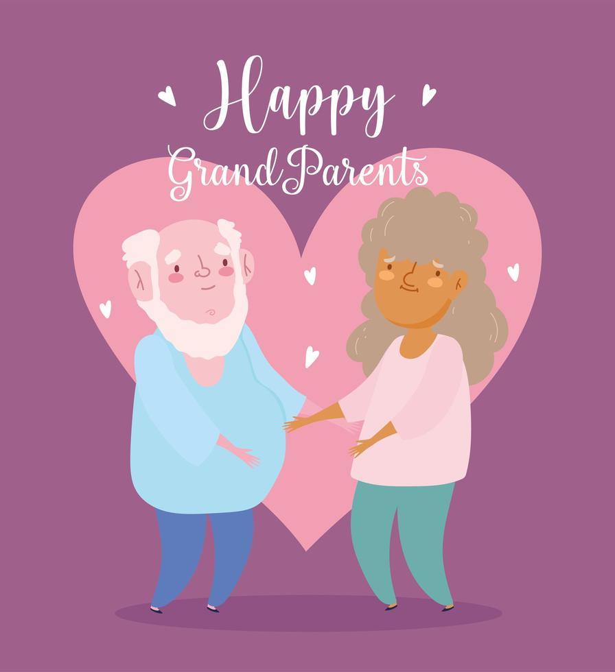 grand-père et grand-mère ensemble amoureux vecteur