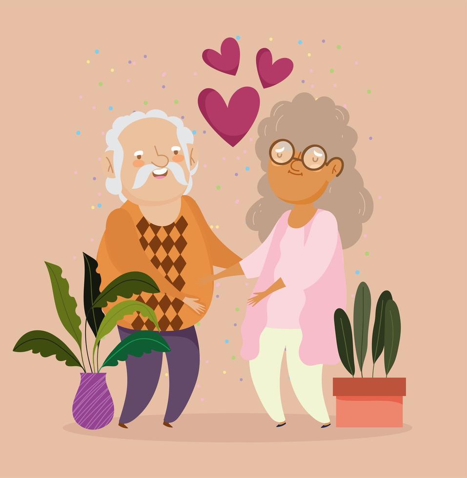 vieux couple avec des plantes en pot et coeurs vecteur