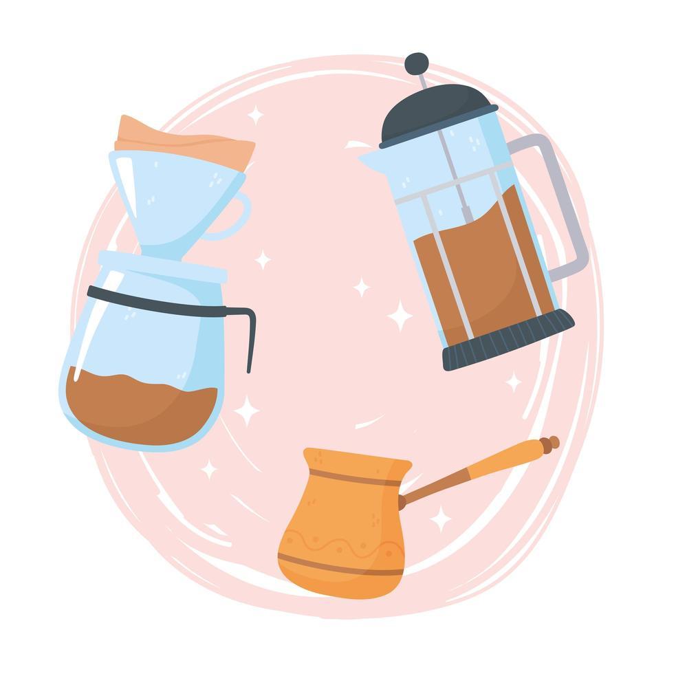 méthodes de préparation du café vecteur