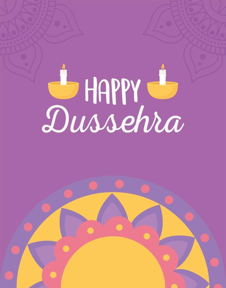 joyeux festival de dussehra. mandala, lampes diya et bougies vecteur
