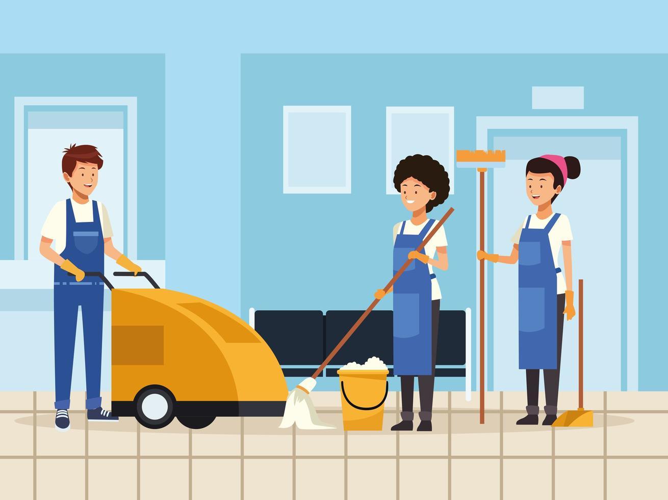 concept d'équipe de ménage vecteur