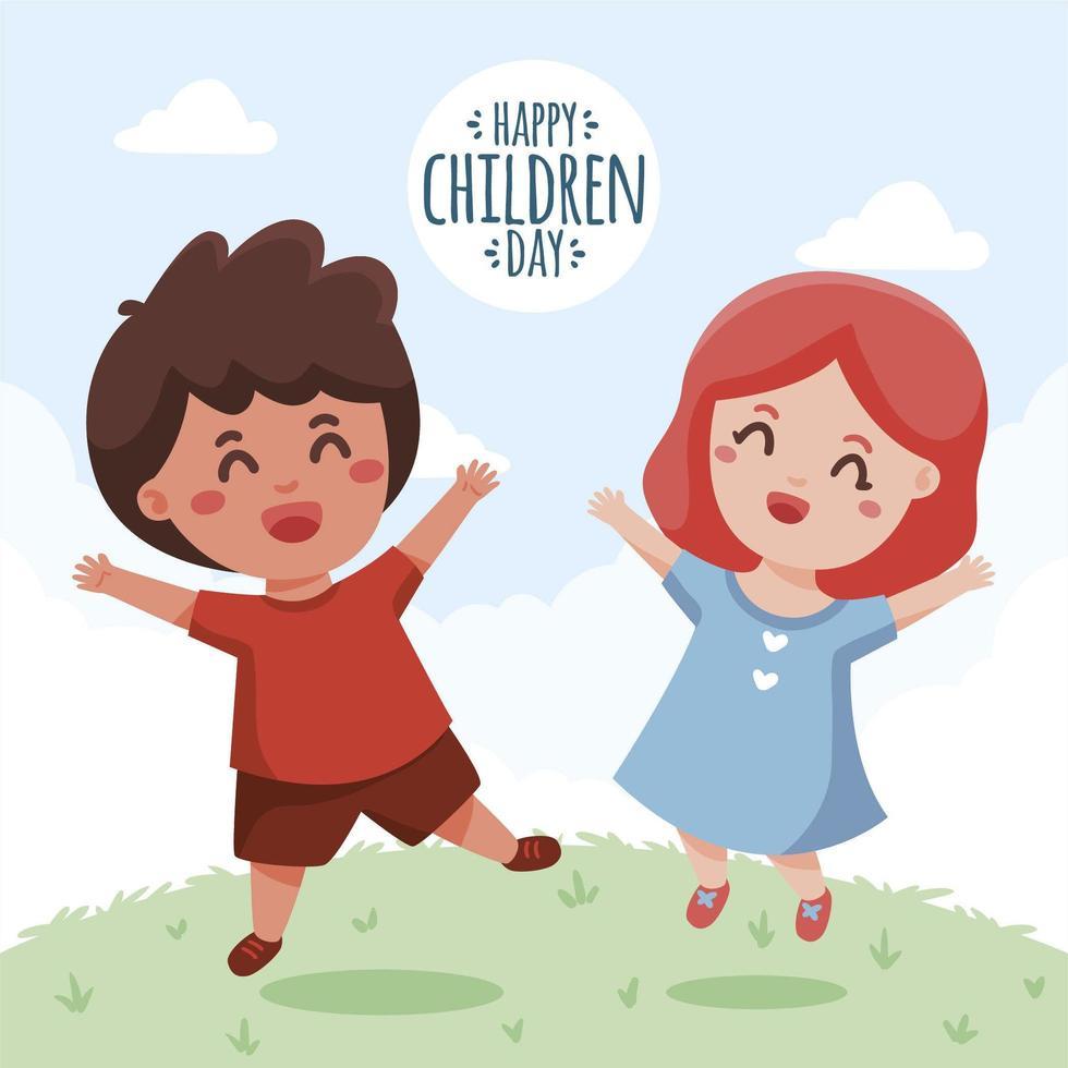 joyeux enfants célébrant la journée des enfants vecteur