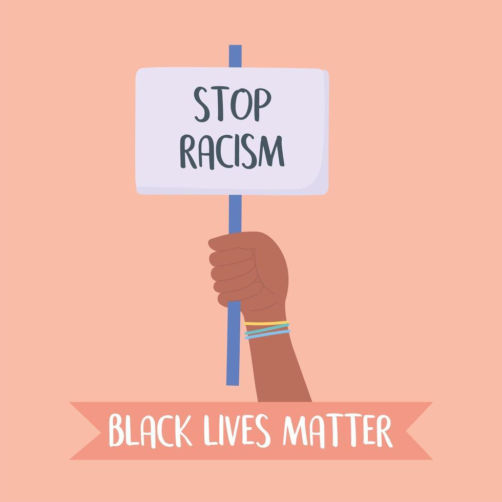 la vie des noirs compte et arrêter la campagne de sensibilisation au racisme vecteur