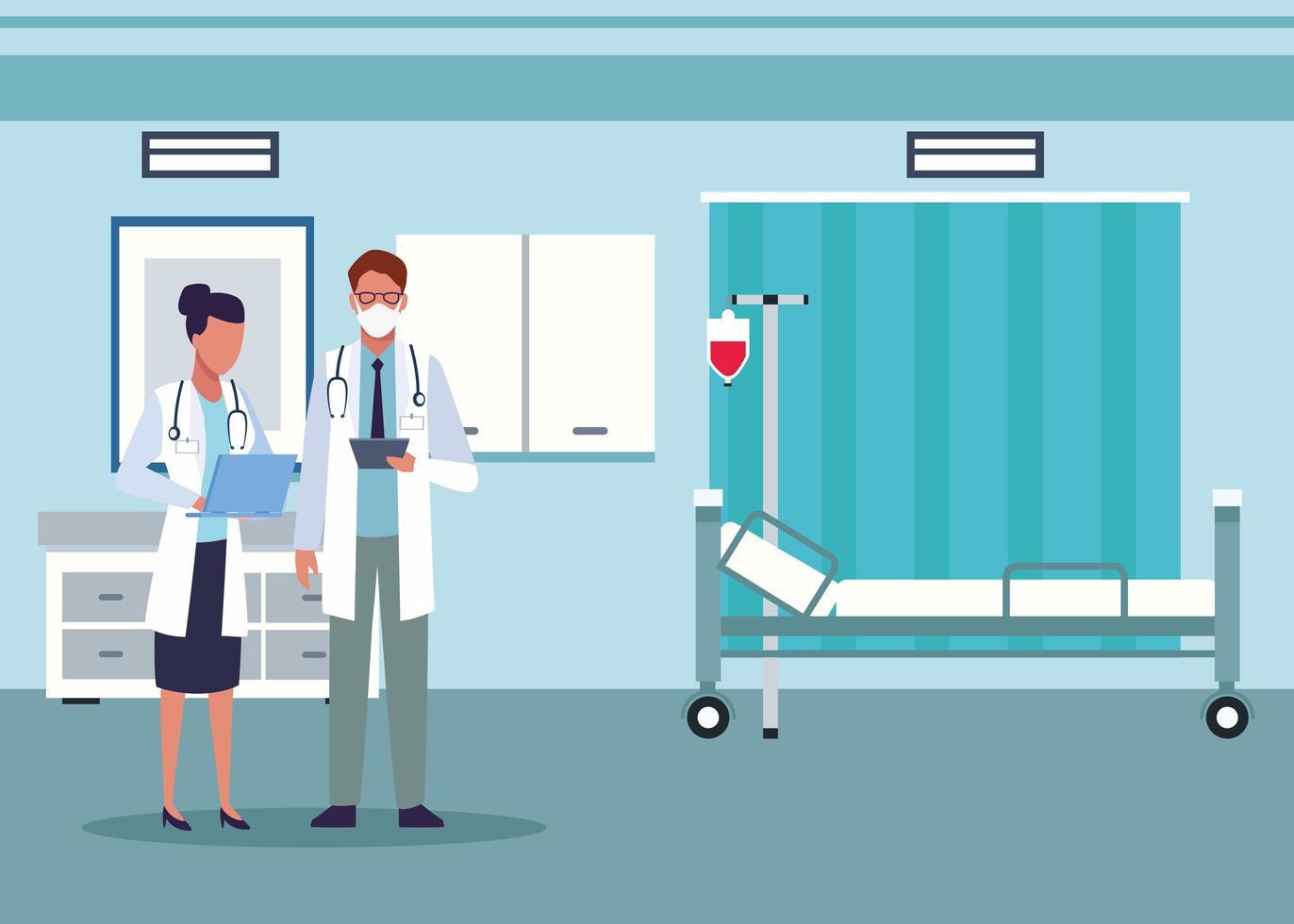 médecin de sexe masculin et féminin dans la chambre d'hôpital vecteur