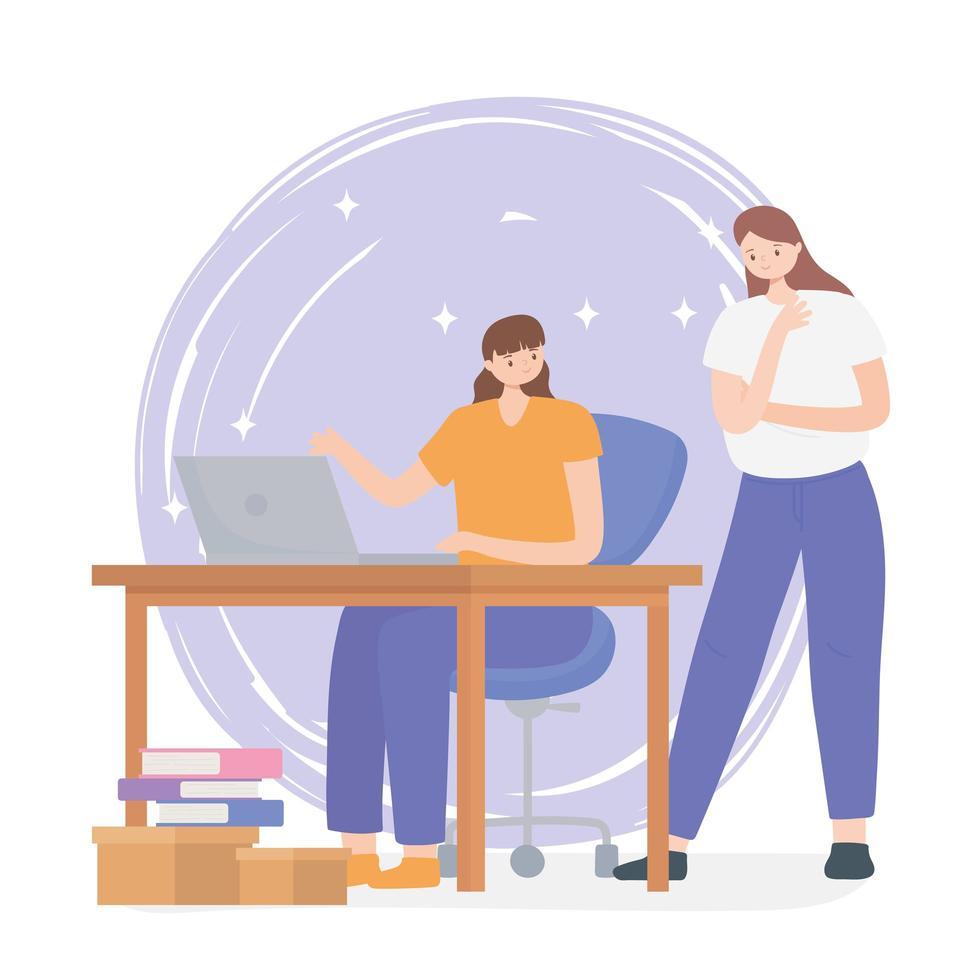 concept de coworking avec des femmes travaillant ensemble vecteur