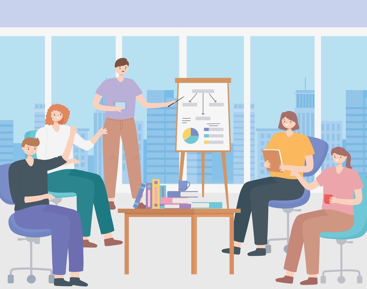 concept de coworking avec des personnes lors d'une présentation de réunion vecteur