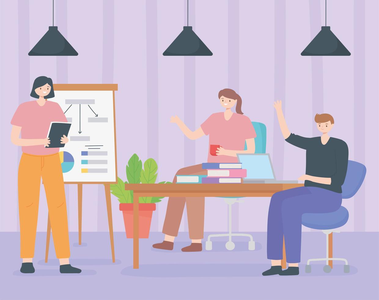 concept de coworking avec des personnes partageant un espace de travail vecteur