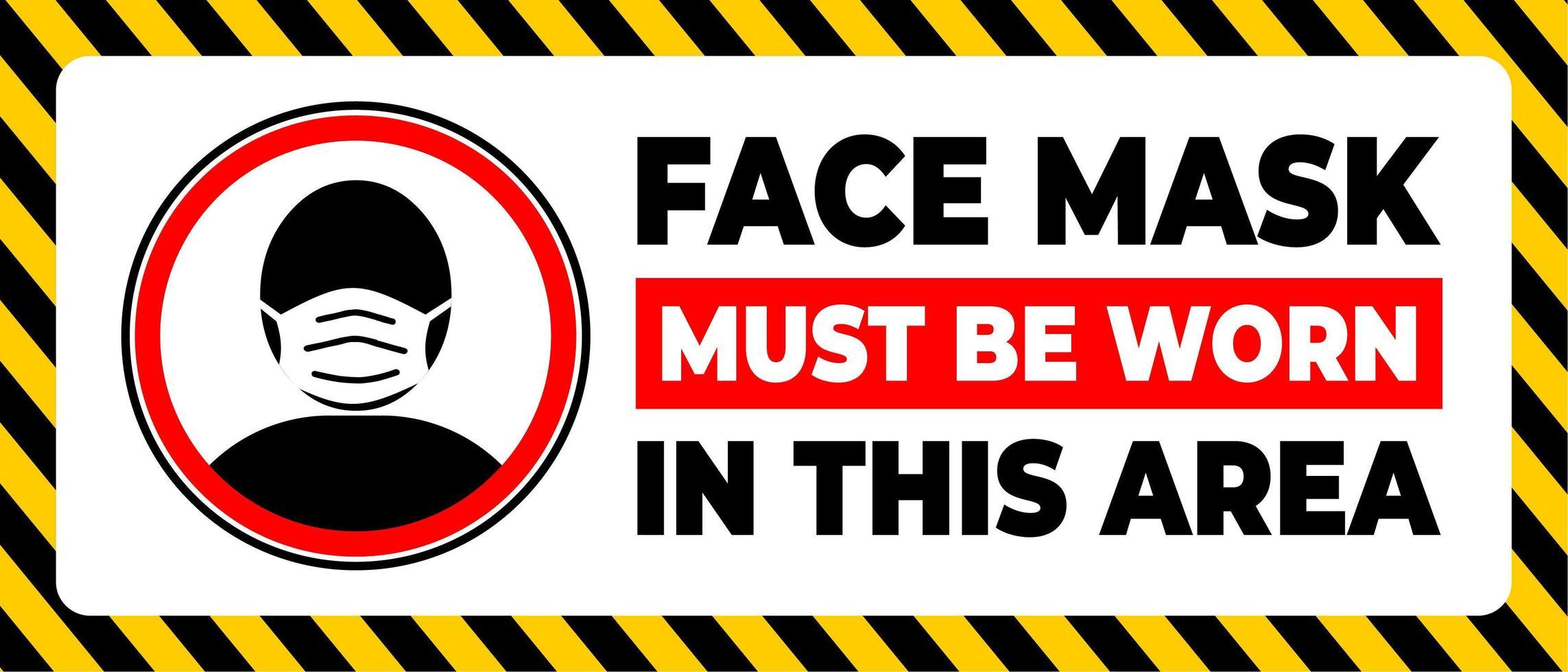 le masque facial doit être porté dans cette zone vecteur