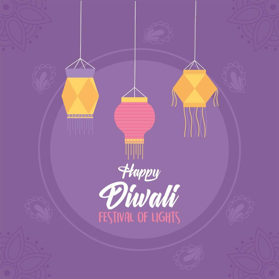 lanternes pour la fête des lumières de diwali vecteur