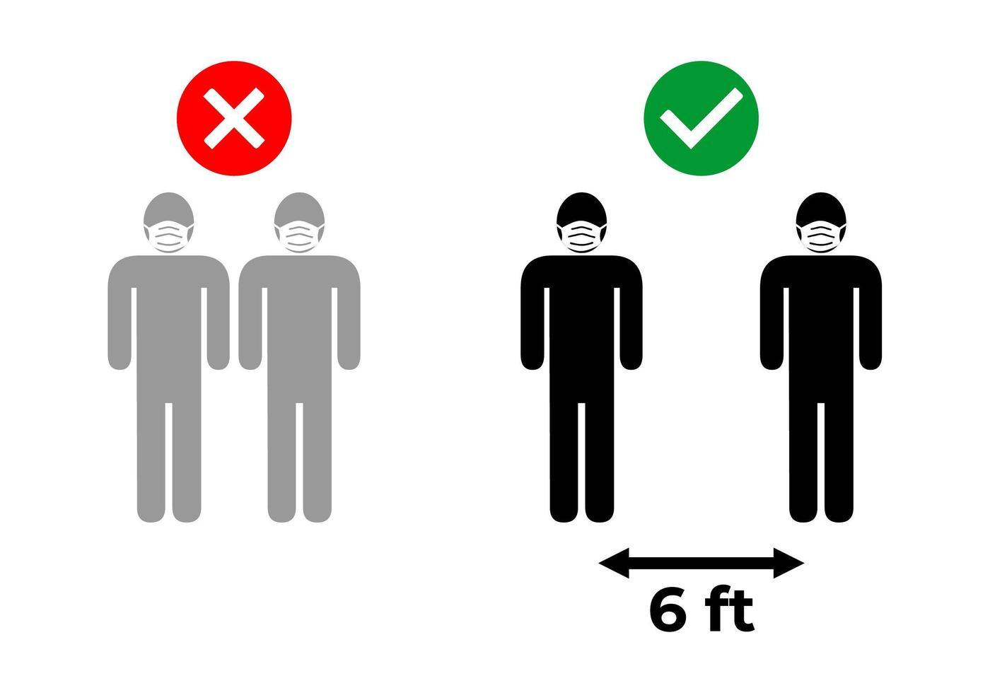 distance sociale de six pieds vecteur