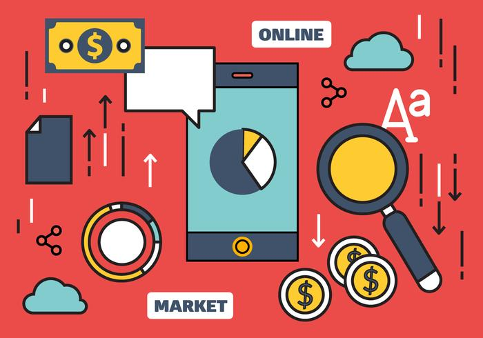 En ligne gratuit marketing Vector Illustration