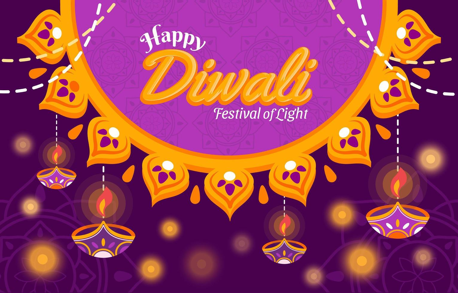 lumière du festival de diwali avec fond violet vecteur